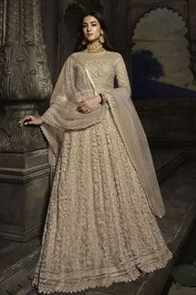 Picture of Appealing Beige Colored Embroidered Anarkali Suit (Unstitched suit)
