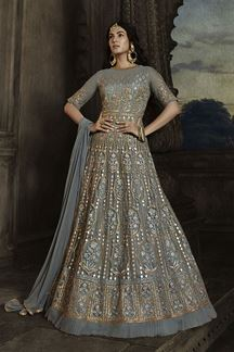 Picture of Fantastic Grey Colored Embroidered Netted Anarkali Suit (Unstitched suit)