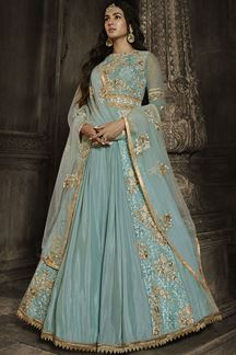 Picture of Exceptional Sky Blue Colored Embroidered Net Suit (Unstitched suit)
