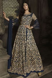 Picture of Dazzling Nay Blue Colored Embroidered Netted Anarkali Suit (Unstitched suit)