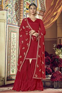 Picture of Flamboyant Red Colored Party wear Gharara Suit (Unstitched suit)