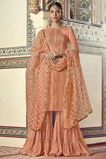 Picture of Ideal Peach Colored Party Wear Gharara Suit (Unstitched suit)