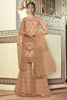 Picture of Excellent Peach Colored Palazzo Suit (Unstitched suit)