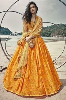 Picture of Distinctive Mustard Yellow Designer Lehenga  Choli