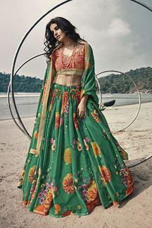 Picture of Beautiful Rama Green Color Designer Lehenga Choli Set