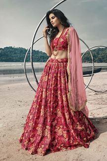 Picture of Ravishing Gajari Red Designer Lehenga Choli Set