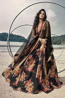 Picture of Satiny Black Colored  Designer Lehenga Choli Set