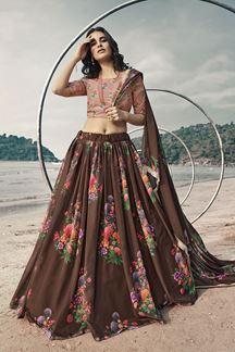Picture of Amazing Brown Colored Lehenga Choli Set