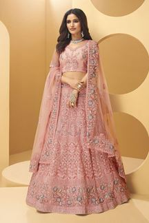 Picture of Rose Pink Colored  Hand Worked Designer Bridal Wear Net Lehenga Choli