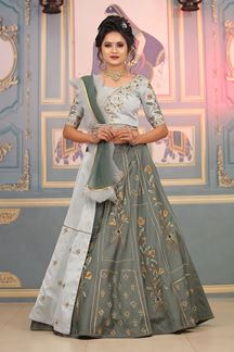 Picture of Chic Light Grey Colored Silk Base With Embroidery Work Lehenga Choli