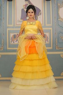 Picture of Pleasing Yellow ColorWith Net Lehenga Suit