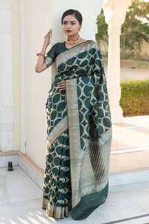 Picture of Bottle Green Colored Tussar Silk Festive Wear Saree