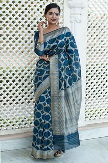 Picture of Peacock Blue Colored Tussar Silk Festive Wear Saree