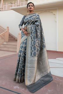Picture of Grey Colored Tussar Silk Festive Wear Saree