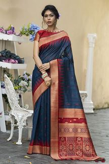 Picture of Blue & Red Colored Designer Weaving Tussar Silk Saree