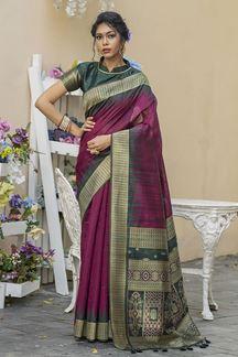 Picture of Magenta & Grey Colored Designer Weaving Tussar Silk Saree