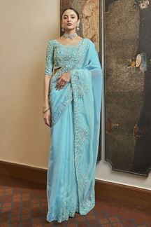 Picture of Gleaming Blue Colored Organza Partywear Saree