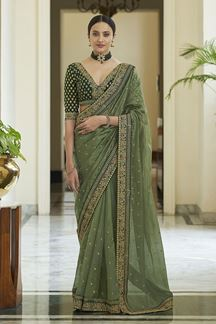 Picture of Flaunt Olive Green  Colored Art Silk Partywear Saree
