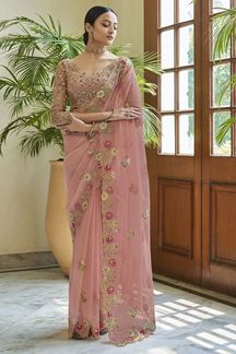 Picture of Capricious Peach Colored Organza Partywear Saree