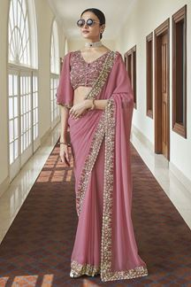Picture of Charming Pink Colored Georgette Saree