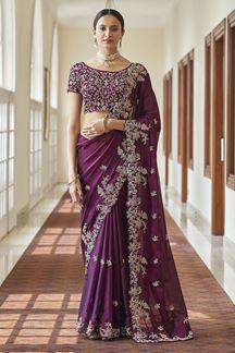 Picture of Demanding Purple Colored Crepe Saree