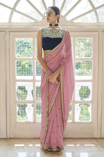 Picture of Stunning Peach Colored Art Silk  Saree
