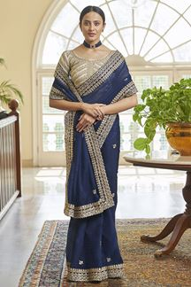 Picture of Lovely Navy Blue Colored Organza Saree