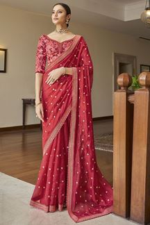 Picture of Glamorous Neon Pink Colored Art Silk Partywear Saree