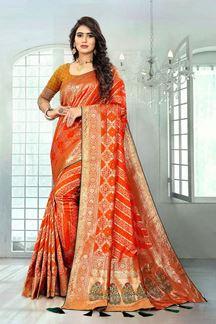 Picture of Excellent Orange Colored Banaras Silk Saree