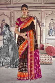 Picture of Opulent Brown  Colored Patola Silk Saree