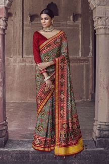 Picture of Capricious Green & Maroon  Colored Patola Silk Saree