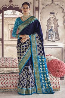 Picture of Appealing Blue Colored Patola Silk Saree