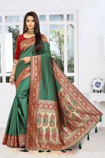 Picture of Blooming  Green & Red Colored Designer Saree
