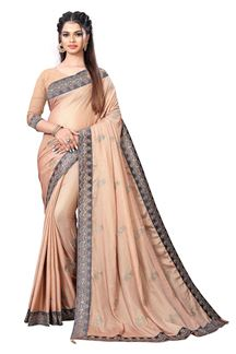 Picture of Exclusivity Beige Colored Chinnon Partywear Saree