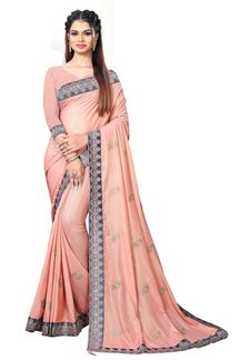 Picture of Charming Peach Colored Chinnon Partywear Saree
