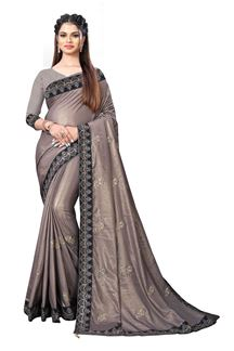Picture of Attractive Grey  Colored Chinnon Partywear Saree
