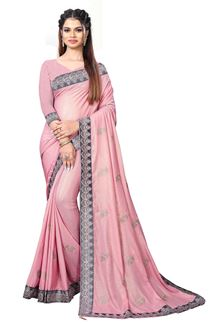 Picture of Graceful Pink Colored Chinnon Partywear Saree