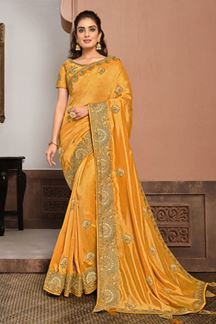 Picture of Refreshing Yellow Colored Partywear Silk Georgette Saree