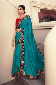 Picture of Ethnic Rama Colored Partywear Embroidery Silk Saree