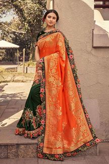 Picture of Trendy Orange & Green Colored Partywear Embroidery Silk Saree
