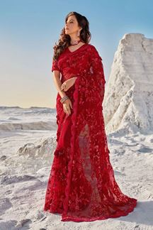 Picture of Dashing Red Colored Partywear Net Saree
