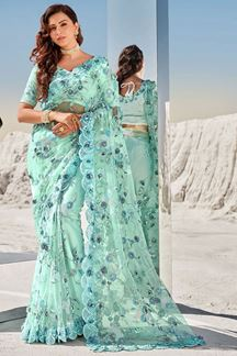 Picture of Exclusive Blue Colored Partywear Net Saree