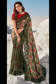 Picture of Amazing Green Colored Partywear Net Saree