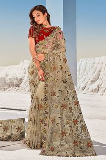 Picture of Wonderful Beige & Maroon Colored Partywear Net Saree