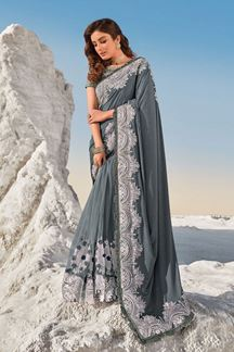 Picture of Elegant Grey Colored Partywear Net Saree