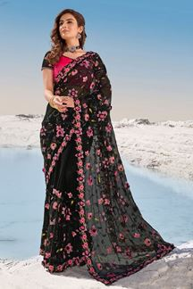 Picture of Stylish Black & Pink Colored Partywear Net Saree