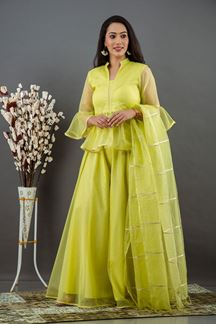 Picture of Beautiful Neon Green Color Palazzo Style Kurti