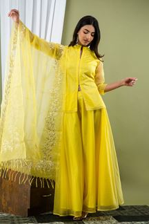 Picture of Neon Yellow Color Palazzo Style Kurti