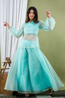 Picture of Sky Blue Color Palazzo Style Kurti