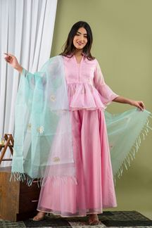 Picture of Baby Pink Color Palazzo Style Kurti
